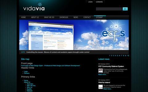 Screenshot of Site Map Page vidavia.com - Site map | Web Design Spain - Professional Web Design and Software Development - captured Oct. 7, 2014