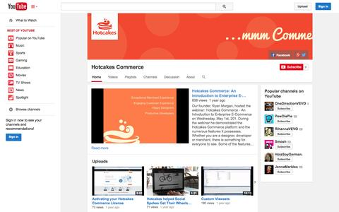 Screenshot of YouTube Page youtube.com - Hotcakes Commerce  - YouTube - captured Oct. 22, 2014