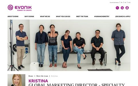 Screenshot of Team Page evonik.com - Kristina                                                                - Evonik Careers - captured July 14, 2018