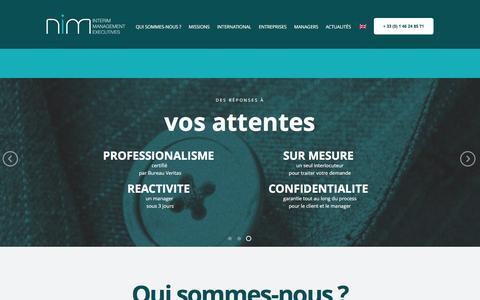 Screenshot of Home Page nimeurope.com - Nim Europe : Cabinet d'experts en management de transition - captured Feb. 14, 2016