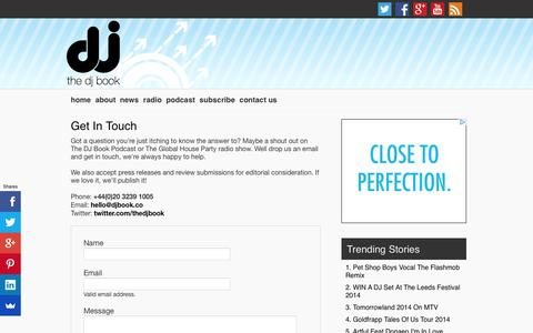Screenshot of Contact Page djbook.co - Get In Touch - The DJ Book - captured Oct. 7, 2014
