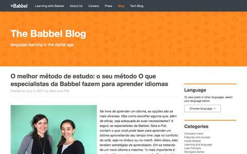 Screenshot of Blog babbel.com - O melhor método de estudo: o seu método | The Babbel Blog - captured Feb. 14, 2018