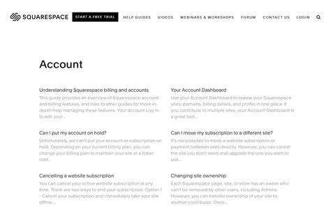Screenshot of Support Page squarespace.com - Squarespace Help - Account – Squarespace Help - captured Feb. 11, 2019