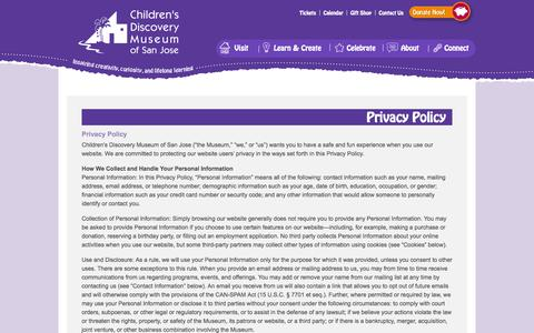Screenshot of Privacy Page cdm.org - Privacy Policy - Children's Discovery Museum of San Jose - captured Sept. 19, 2014