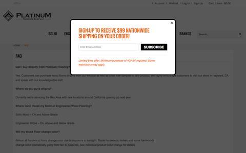 Screenshot of FAQ Page platinumflooringcompany.com - Faq in Hayward, CA - captured July 22, 2015