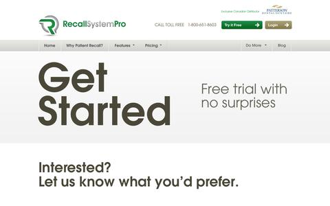 Screenshot of Trial Page recallsystem.com - Free Trial - Recall System Pro - captured Oct. 7, 2014