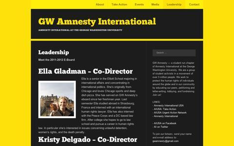 Screenshot of Team Page wordpress.com - Leadership | GW Amnesty International - captured Sept. 12, 2014