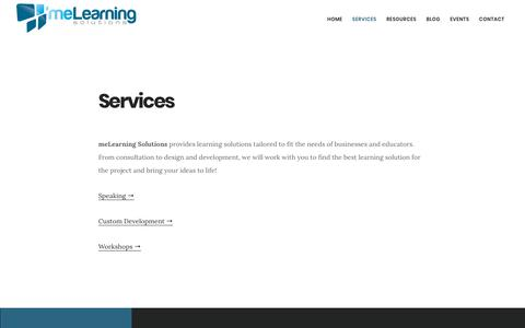 Screenshot of Services Page melearningsolutions.com - Services — meLearning Solutions - captured Nov. 2, 2017