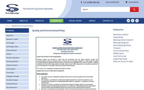 Screenshot of Press Page sciquip.co.uk - Quality & Environmental Policy - captured Oct. 6, 2017