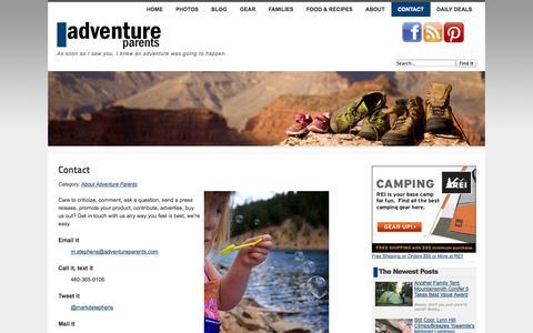 Screenshot of Contact Page adventureparents.com - Contact Adventure Parents - Adventure Parents - captured Sept. 24, 2014