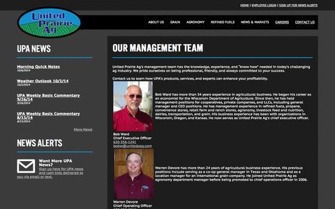 Screenshot of Team Page unitedpag.com - Management - United Prairie Ag - United Prairie Ag - captured Oct. 7, 2014
