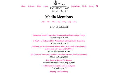 Screenshot of Press Page fashionlawinstitute.com - Media Mentions - Fashion Law Institute - captured Aug. 12, 2018