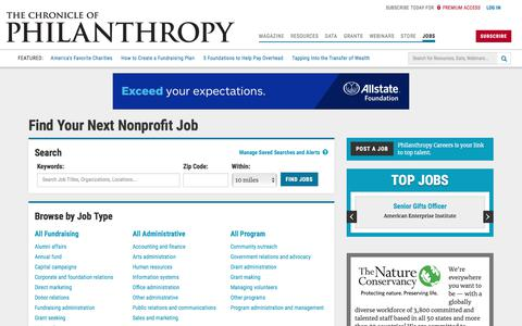 Screenshot of Jobs Page timewarner.com - Jobs - The Chronicle of Philanthropy - captured Jan. 28, 2020