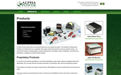 Screenshot of Products Page alphapowerelectronics.com - Alpha Power Electronics Products - Alpha Motor Drive, Alpha OS Monitor, and the Alpha Power Supply. - Alpha Power Electronics - captured Oct. 29, 2014