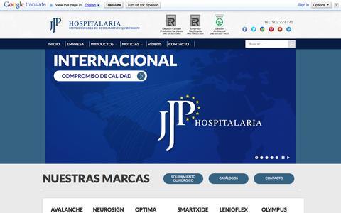 Screenshot of Home Page jjphospitalaria.com - Distribuidores Equipamiento Quirúrgico Internacional - captured Oct. 4, 2014