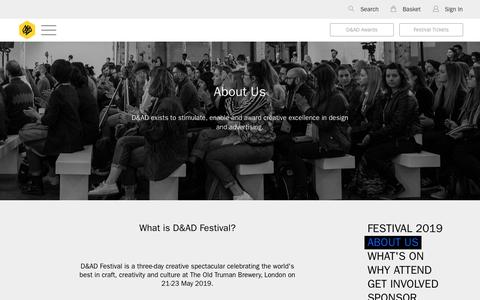 Screenshot of About Page dandad.org - D&AD Festival 2019 | About Us | Global Creative Advertising & Design Events | D&AD - captured Nov. 7, 2018