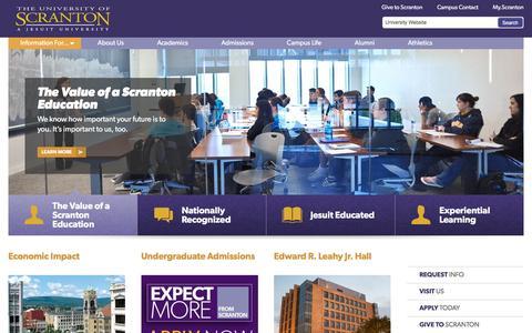 Screenshot of Home Page scranton.edu - The University of Scranton - captured Jan. 21, 2016