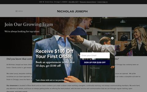 Screenshot of Jobs Page customsuitsyou.com - Join Our Growing Team | Nicholas Joseph - captured Oct. 18, 2018