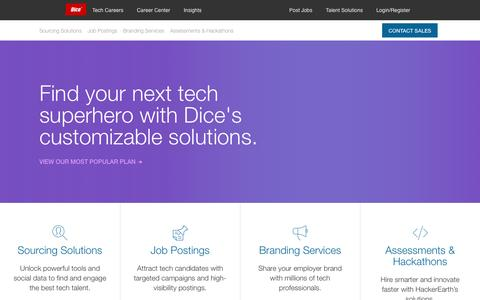 Screenshot of Products Page dice.com - Employer Recruiting Solutions to Find Tech Talent | Dice Products - captured March 10, 2017