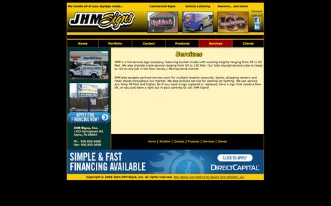 Screenshot of Services Page jhmsigns.com - JHM Signs - The Premiere Full Service Sign Company throughout New Jersey and Eastern PA - captured Sept. 30, 2014