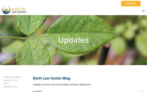 Screenshot of Blog earthlawcenter.org - Blog | Earth Law Center - captured July 13, 2018