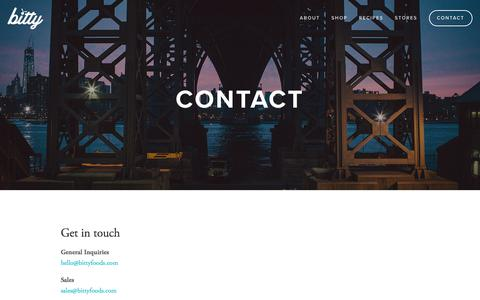 Screenshot of Contact Page bittyfoods.com - Contact — Bitty Foods - captured Aug. 2, 2018