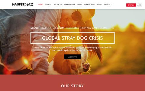 Screenshot of Home Page manfredandco.com - Manfred&Co - Committed to Helping Overcome the Global Stray Dog Crisis - captured Oct. 3, 2014