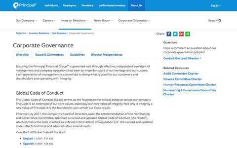 Principal Financial Group Inc - Corporate Governance