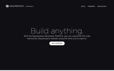 Screenshot of Developers Page squarespace.com - Squarespace Developers Platform - captured Dec. 14, 2015
