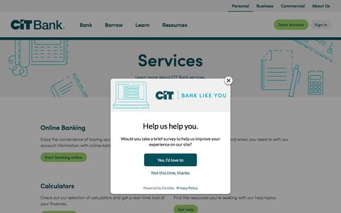 Screenshot of Services Page cit.com - CIT Bank Services - captured July 6, 2019