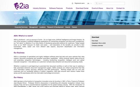Screenshot of About Page a2ia.com - Document processing, handwriting recognition software | A2iA - captured Oct. 4, 2014