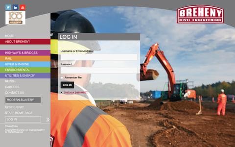 Screenshot of Login Page breheny.co.uk - Log In - Breheny Civil Engineering - captured Oct. 6, 2018