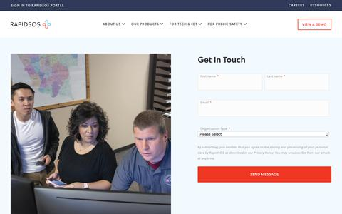 Screenshot of Contact Page rapidsos.com - Contact - RapidSOS - captured Nov. 6, 2019