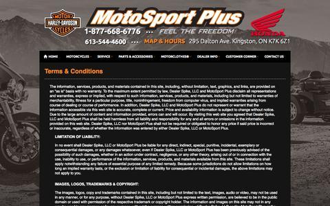Screenshot of Terms Page motosportplus.com - Terms   MotoSport Plus   Kingston Ontario - captured Oct. 9, 2014