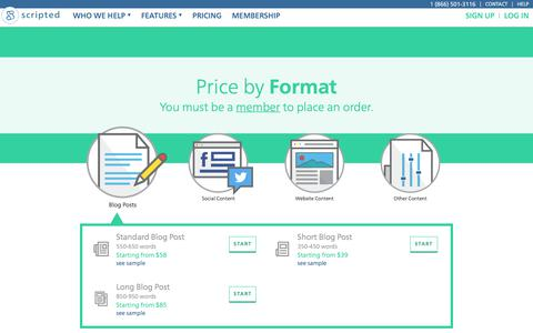 Pricing for content writing | Scripted