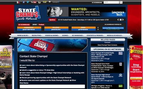 Screenshot of Contact Page statechampsnetwork.com - Contact State Champs - statechamps - captured Oct. 8, 2014