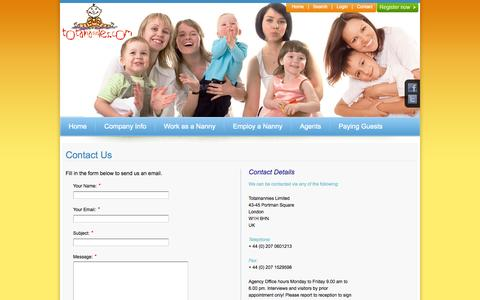 Screenshot of Contact Page totalnannies.com - Contact Details - captured Oct. 9, 2014