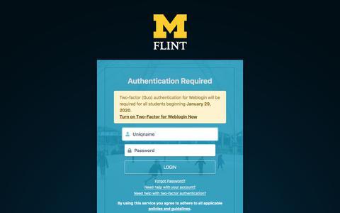 Screenshot of Login Page umflint.edu - Weblogin | University of Michigan-Flint - captured Jan. 2, 2020