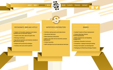 Screenshot of Services Page tipplingbros.com - Services | Tippling Bros | Founded by Tad Carducci and Paul Tanguay | Beverage and bar consultants in the US - captured Dec. 5, 2015