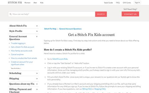 Screenshot of Support Page stitchfix.com - Get a Stitch Fix Kids account – Stitch Fix Help - captured April 25, 2019