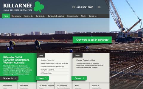 Screenshot of Home Page killarnee.com - Civil & Concrete Contractors Perth, Western Australia - Killarnée Group - captured Oct. 6, 2014