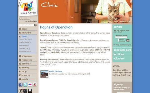 Screenshot of Hours Page animalhumanenm.org - Animal Humane NM - captured Oct. 4, 2014