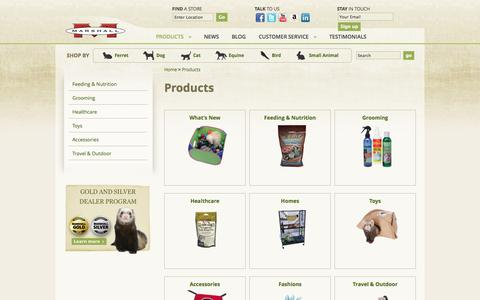 Screenshot of Products Page marshallpet.com - Products - Marshall Pet Products - captured Oct. 27, 2014