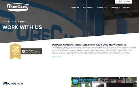 Screenshot of Jobs Page purecars.com - Careers & Open Positions | Company | PureCars Digital Solutions - captured June 21, 2018
