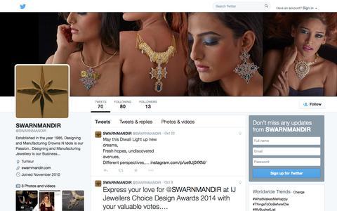 Screenshot of Twitter Page twitter.com - SWARNMANDIR (@SWARNMANDIR) | Twitter - captured Oct. 27, 2014