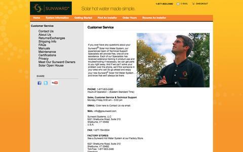Screenshot of Support Page gosunward.com - Customer Service | Sunward Systems - captured Oct. 7, 2014