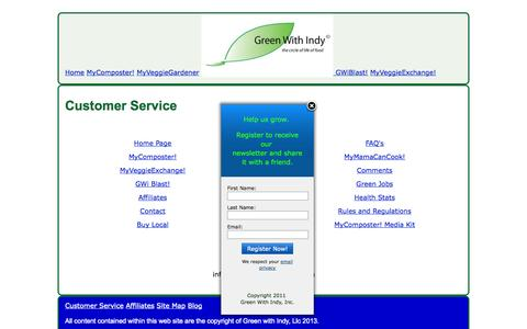 Screenshot of Site Map Page Support Page greenwithindy.com - Customer Service - captured Oct. 23, 2014