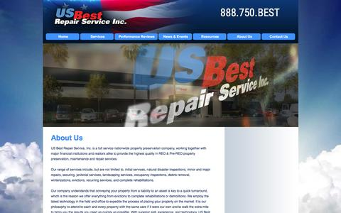 Screenshot of About Page usbestrepairs.com - US Best Repair Service, Inc. | About Us | Nationwide Property Preservation & Property Maintenance, REO - captured Feb. 2, 2016
