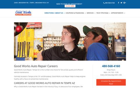 Screenshot of Jobs Page goodworksautorepair.com - Employment   Good Works Auto Repair Tempe - captured Aug. 28, 2017