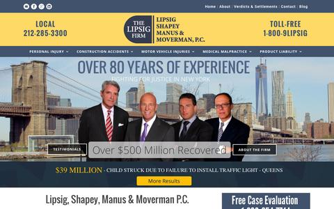 Screenshot of Home Page lipsig.com - Construction Accident Lawyer NYC | Slip & Fall Attorney - captured Oct. 2, 2014